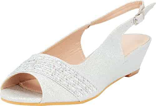 69fa737ee3aa Cambridge Select Women s Glitter Crystal Rhinestone Peep Toe Slingback Low  Wedge Sandal