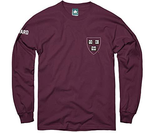 Ivysport Harvard University Long Sleeve T-Shirt Mascot Logo, 100% Cotton, Crimson, Long Sleeve T-Shirt, Medium