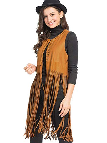 Long Leather Vest Fringe - PERSUN Women's Brown Collarless Strappy Tassel Hem Suedette Waistcoat,X-Large