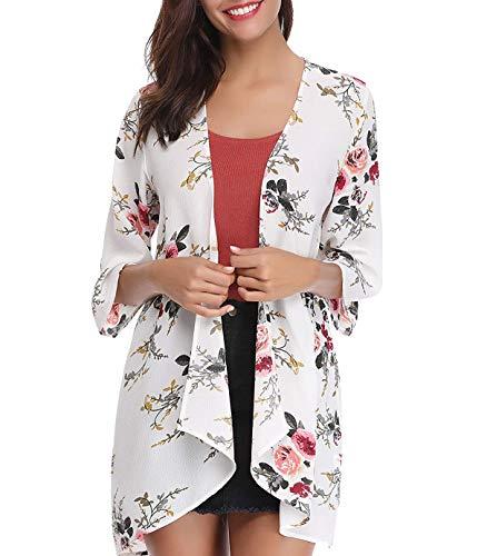- Women's Floral Print Kimonos Loose Tops Half Sleeve Shawl Chiffon Cardigan Blouses Casual Beach Cover Ups (XX-Large, White)