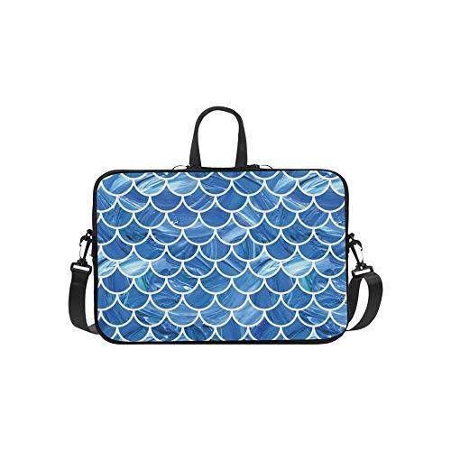 Oil Painted Mermaid Fish Scale Scallop Pattern Blue Pattern Briefcase Laptop Bag Messenger Shoulder Work Bag Crossbody Handbag for Business Travelling