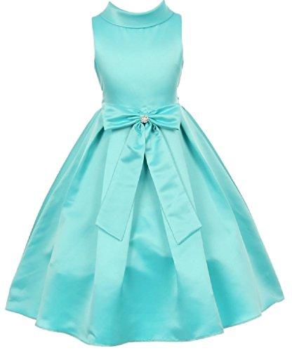 Little Girls Bridal Dull Satin Bow Rhinestone Flowers Girls Dresses Aqua Size 2