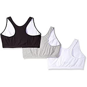 Fruit of the Loom Women's Shirred Front Racerback Bra (Pack Of 3), White/Black Hue/Heather Grey, 46