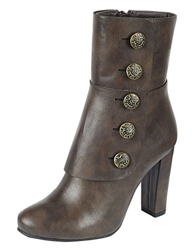 Cambridge Select Women's Steampunk Victorian Button Chunky Heel Ankle Boot (8 B(M) US, Brown)
