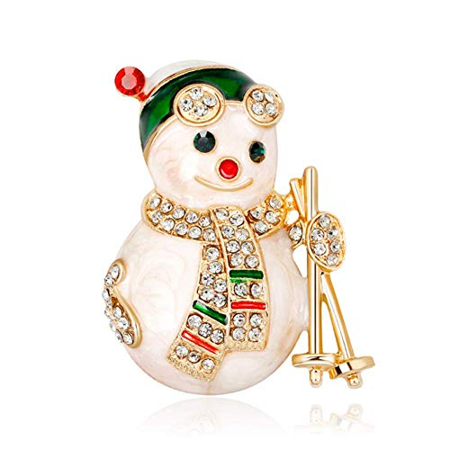 - Christmas Cute Snowman Brooch Pins Clear Crystal Rhinestone Enamel Lapel Pin for Women Girls Xmas Holiday Festive Gift