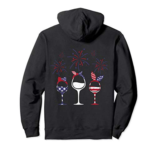 - Wine 4th of July Gift for Women Red White Blue American Flag Pullover Hoodie