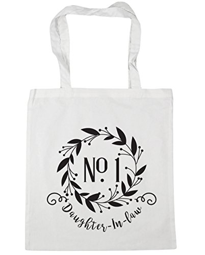 10 One HippoWarehouse Floral Bag DaughterInLaw x38cm Beach Tote Shopping Wreath 42cm Gym White Number litres 5trrqw7