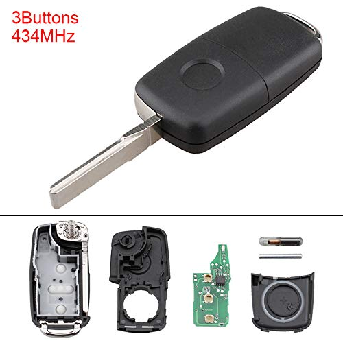 ePathChina® 434MHz 3 Buttons Keyless Uncut Flip Remote Key Fob 5K0837202AD for VolksWagen Beetle/Caddy / Tiguan/Touran / Arriba/Eos / Golf/Jetta / Polo/Scirocco EPATH DIRECT