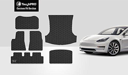 Car Floor Mat Set - ToughPRO Tesla Model 3 Floor Mats Set - Frunk Mat - Trunk Mat- Storage Mat - All Weather - Heavy Duty - Black Rubber -(2017-2018)