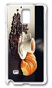 MOKSHOP Adorable coffee croissant breakfast Hard Case Protective Shell Cell Phone Cover For Samsung Galaxy Note 4 - PC Transparent