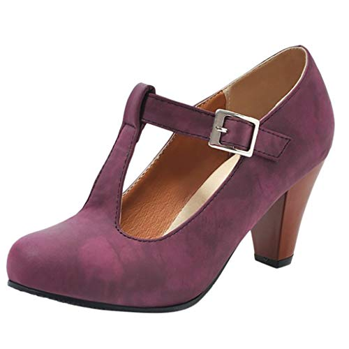 - Women's Fashion Platform Sandals Wedge Pointed Toe Chunky Ankle Strap Buckle High Heels Shoes Pumps Shoes Purple