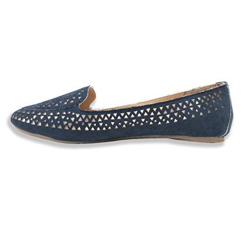 Olivia Miller Womens Sophie Laser Cut W / Metallic Underlay Smoking Shoes Blu