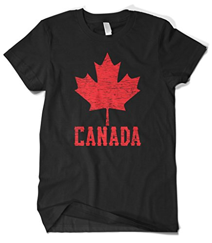Cybertela Men's Canadian Flag Canada Maple Leaf T-Shirt (Black, - Men Canada