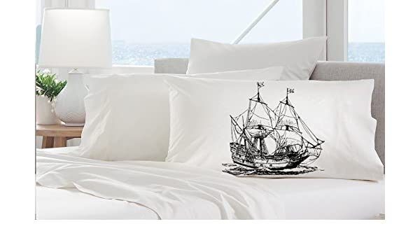 Nautical Pillowcase Pillow cover One Clipper Ship Pillowcase Nautical Decor