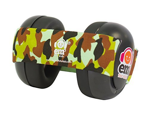 Ems for Kids Baby Ear Defenders - Black with Army Camo. The Original Baby...
