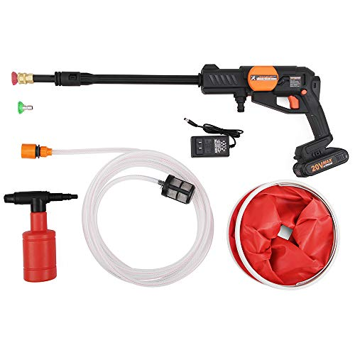HUAHE Cordless Portable Power Pressure Washer Cleaner - 363-580 psi Working Pruessure and 20V Li-ion (2.0Ah-4.0Ah) Power Share Platform with Cleaning Accessories