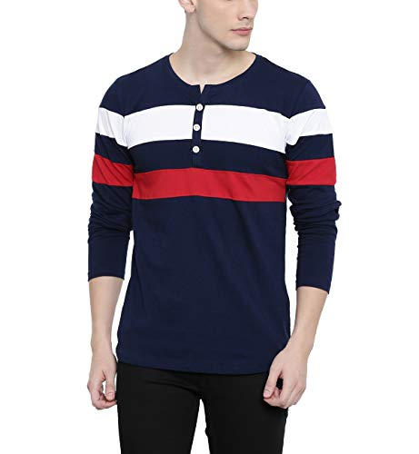 ADRO Men's Cotton Color Blocked Full Sleeve T-Shirt