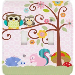 Owl Squirrel Treetop Friends Fancy Scrolled Tree Double Toggle Switchplate USA