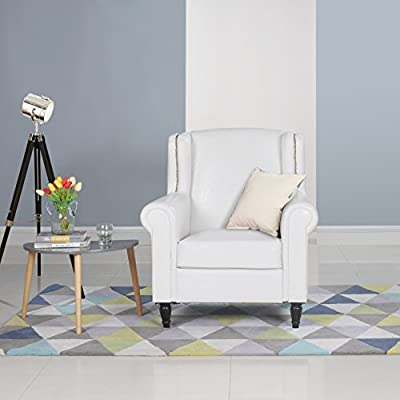 Classic Scroll Arm Faux Leather Accent Chair, Living Room Armchair With  Nailheads (White)