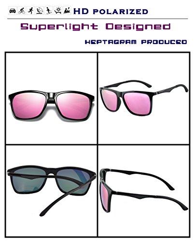 rectangulares para conducción Gafas hombre Retro Negro de sol sol para de Rosado Gafas polarizadas zzwfPrxqvA