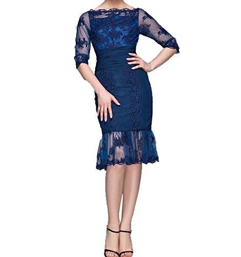 Dunkel Etuikleider Partykleider Spitze Damen Langarm Blau Abendkleider Ballkleider Knielang Charmant mit Brautmutterkleider EH1qvHwxg