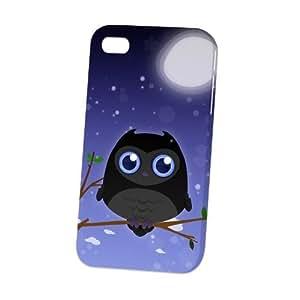 Case Fun Apple iPhone 4 / 4S Case - Vogue Version - 3D Full Wrap - Black Owl by DevilleART
