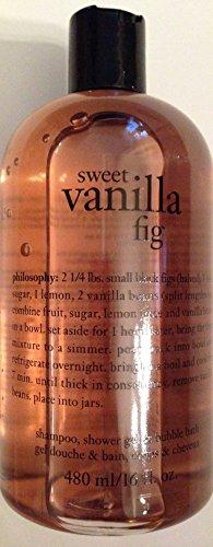 Philosophy Sweet Vanilla Fig Shampoo, Shower Gel & Bubble Bath 16 Oz