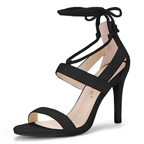 Allegra K Women's Open Toe Cutout Stiletto Heel Lace Up Sandals (Size US 9) Black