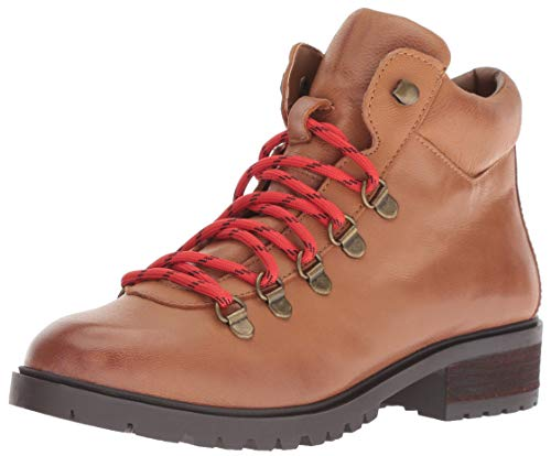 Steve Madden Women's LORA Hiking Boot, Cognac Leather, 6 M US (Troops Boots)