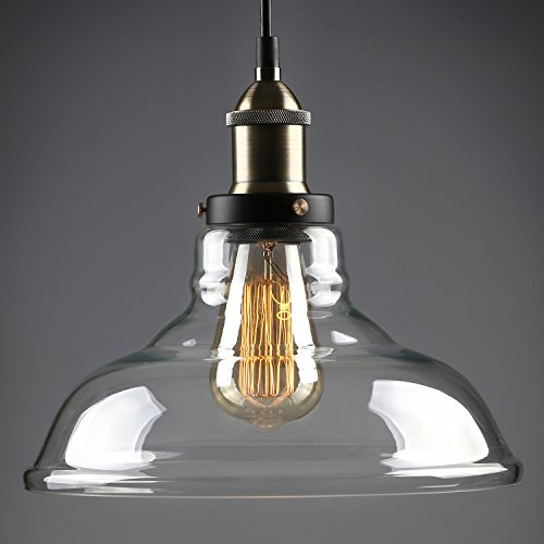1 Light Industrial Glass Pendant Light, Edison Vintage Style Clear Transparent Hanging Lampshade, Kitchen, Dining Room, Restaurant, Café, 2 YEARS WARRANTY (Glass Pendant Lights For Kitchen)