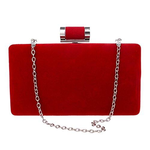 KERVINFENDRIYUN Women's Suede Clutch Purse Evening Bag Handbag Crossbody Shoulder Bag (Color : Purple) Red