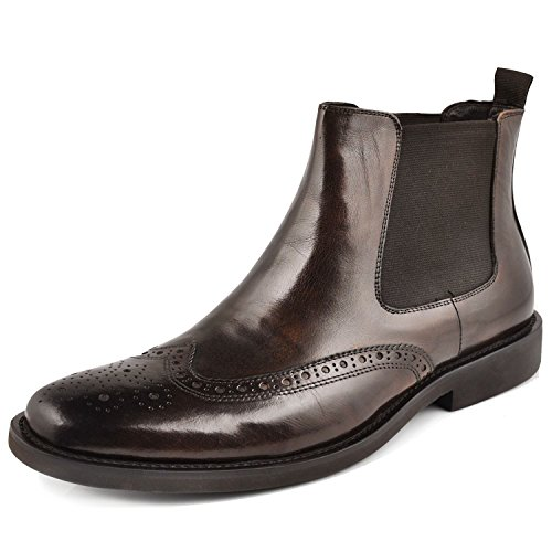 Fulinken Genuine Leather Mens Brogue Formal Dress Shoes Business Boots Wingtip Chelsea Boots (11.5 D(M) US, (Italian Handmade Brown Leather Boots)