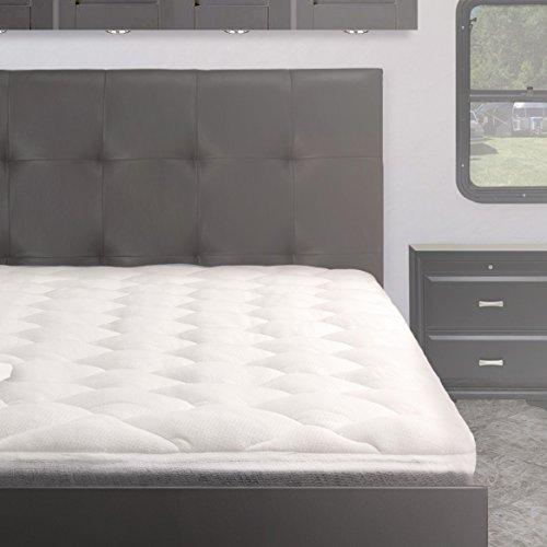 Bamboo From Rayon Overfilled Pillow Top RV Mattress Pad, RV/Camper Mattress Topper, Short Queen