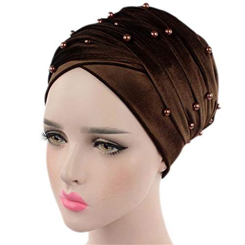 Qhome Womens Luxury Beaded Pearled Velvet Long Head Wrap Turban Hijab Long Tube Head Scarf Tie ()