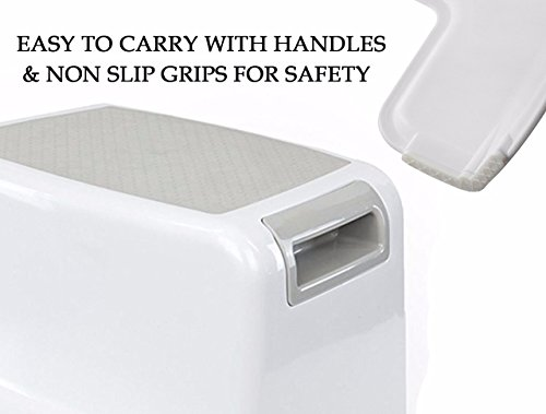 (2 Pack) Dual Height Step Stool for Toddlers & Kids, Nursery Step Stool Potty Training Stool for Bathroom, Kitchen, Two-Step Design with Soft No-Slip Grips and Safe, White & Grey, by Luxenno by LUXENNO (Image #7)