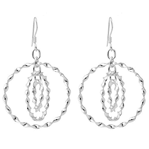 Sterling Silver Concentric Hoops-Within-Hoops Dangling Twisted Hoop Earrings, 30mm -