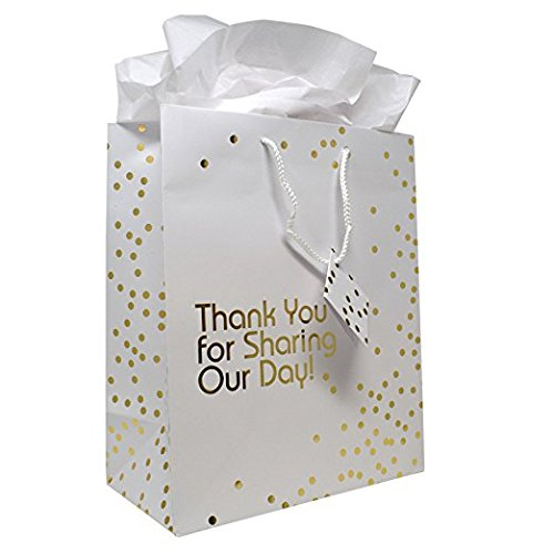 12 Gift Boutique Medium Wedding Gift Bags; Metallic Gold Dots Wedding Gift Bags