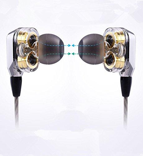 VJJB Headphones Dynamic Double Drivers Built-in MIC Stereo in-Ear Earpiece Noise Reduction Earphones HiFi Deep Bass Sweatproof Waterproof Earbuds for All Music Devices-Clear