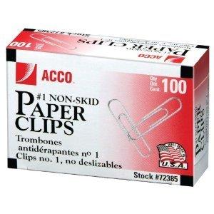 ACCO Paper Clips, Economy, Non-skid, #1 Size, 100/Box, 10 Boxes (72385) (2, 10 (10 Paper Clips)
