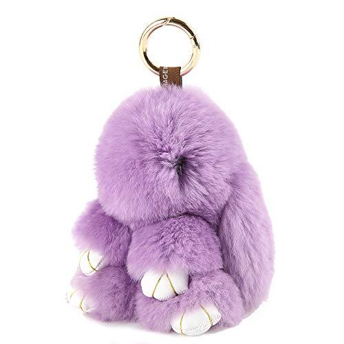YISEVEN Stuffed Bunny Keychain Toy - Soft Fuzzy Large Stitch Plush Rabbit Fur Key Chain - Cute Fluffy Bunnies Floppy Furry Animal Easter Basket Stuffers Gifts Women Bag Charm Car Pendant - Purple