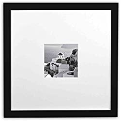 Golden State Art, Smartphone Instagram Frames Collection, 11x11-inch Square Photo Wood Frames with White Photo Mat & Real Glass for 4x4 Photo, Black