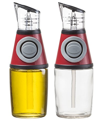 HomEquip 8.5 Oz Olive Oil Glass Dispenser Pump with Measuring Cup (2Pk): Drip Free Pouring Spout Bottle - For Olive Oil, Herb Oils, Vinegar & Salad Liquid Dressings Ingredients