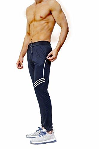 PFlex Men's Soccer Training Pants - Tapered fit Joggers- Zippered Pockets - Comfortable Sweatpants - Long lasting (Navy, Medium)