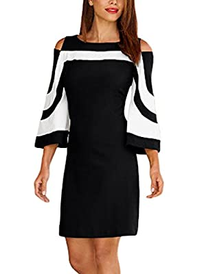 Elapsy Womens Casual 3 4 Bell Sleeve Cold Shoulder Colorblock Club Party Shift Dress