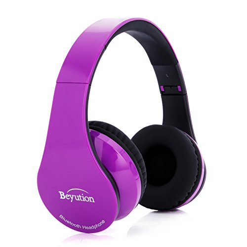 New Black/Red/White/Blue/Yellow/Pink More Color Bluetooth Headphones -Wireless- HiFi Stereo- Built in Mic-Phone with Retail Package (Pure Purple)