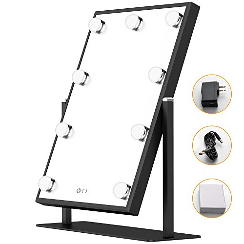 Illuminated Cosmetic Mirror (BEAUTME Hollywood Makeup Vanity Mirror,Hollywood vanity Mirror with Light Table tops Lighted Mirror with Dimmer, LED Illuminated Cosmetic Mirror with LED Dimmable Bulbs,Lighting Mirror (black))