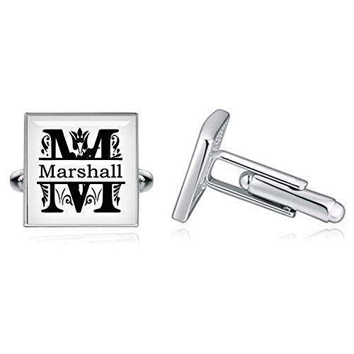 (Kooer Vintage Split Letter Square Cufflinks Split Monogram Cufflinks Handmade Custom Personalized Cuff Links Groom Cufflinks Groomsman Gifts Wedding Cuff Links Tie Clip Tie Tack)