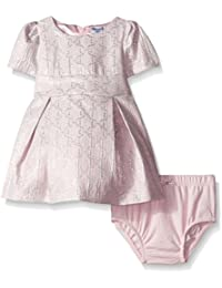 Baby-Girls Bow Pattern Woven Jacquard Dress and Diaper Cover Set