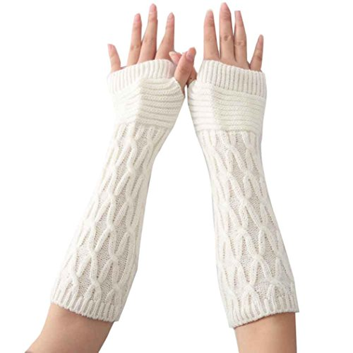 Convertible Windproof Gloves - Charberry Fashion Arm Fingerless Winter Unisex Soft Warm Mitten Gloves (White (Long))
