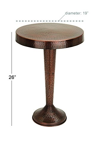 Benzara Vintage Inspire Metal Bronze Accent Table, 26-Inch, 19-Inch